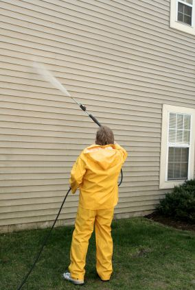 Pressure washing in Belmont, NH by MF Paint Management, LLC.